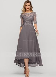 A-Line Scoop Neck Asymmetrical Chiffon Evening Dress With Beading Sequins - Evening Dresses - JJ's House Formal Dresses With Sleeves, Dresses Elegant, Mob Dresses, Tea Length Dresses, Pretty Dresses, Casual Dresses, Fashion Dresses, Mother Of Bride Outfits, Mother Of Groom Dresses