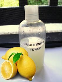 Skin Brightening Toner--1/2c Lemon juice-1c Water-2/3c Witch hazel-Plastic bottle or jar-toner for normal-dry skin. For oily skin + 2T Alcohol. Mix in bottle, Cleanse skin with facial cleanser, rinse, repeat. Apply toner with cotton pad, sweep upward & outward over face & neck, apply moisturizer. Witch Hazel: Tightens pores, reduces inflammation. Lemon Juice: Reduce blemishes, lightens skin. Use facial toner morning & night for deeper cleanse, small pores & bright, radiant skin