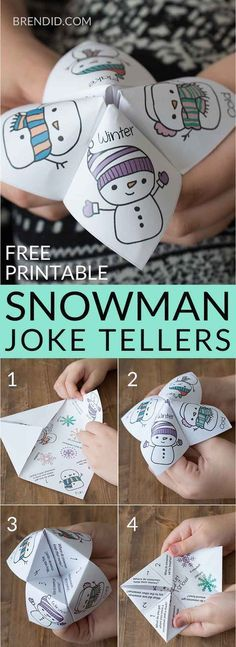 Snowman joke tellers | snowman jokes | school party | winter party | free printable | holiday jokes for kids | Christmas holiday jokes for kids | cootie catcher | fortune teller #snow #snowman #joketeller