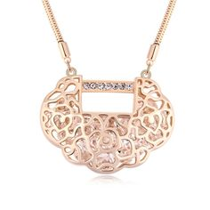 [USD20.88] [EUR19.34] [GBP14.93] Austrian Crystal Necklace - Concentric Lock (Colour: Champagne Gold)