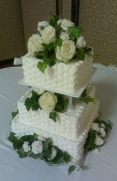 This was a basket weave cake that I loved doing. Easier than I thought. Was beautiful with the roses. All white cake with strawberry filling. by dee Square Wedding Cakes, White Wedding Cakes, Elegant Wedding Cakes, Beautiful Wedding Cakes, Gorgeous Cakes, Amazing Cakes, Pretty Cakes, Basket Weave Cake, Flower Basket Cake