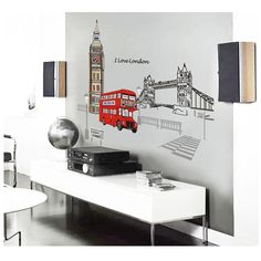Cheap wall decals, Buy Quality designer wall stickers directly from China wall sticker Suppliers: Keythemelife London Buses Wall Stickers Living Room Stickers Style Wallpaper Design PVC Wall Decals Family Tree Wall Sticker, Kids Room Wall Stickers, Personalised Wall Stickers, London Decor, Pvc Wall, Fall Mantel Decorations, British Style, Wall Murals, Wall Decor