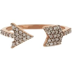 AAMAYA BY PRIYANKA Rose gold-toned arrow ring (5 485 ZAR) ❤ liked on Polyvore featuring jewelry, rings, rose gold tone jewelry, polish jewelry and aamaya by priyanka