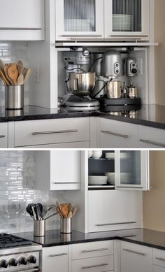 Kitchen Design Idea - Store Your Kitchen Appliances In A Dedicated Appliance Garage // This custom appliance garage perfectly fits the mixer and espresso machine inside it and keeps them out of the way when they're not in use. Source by Minimal Kitchen, Basic Kitchen, New Kitchen, Kitchen Decor, Kitchen Store, Kitchen Ideas, Cheap Kitchen, Updated Kitchen, Kitchen Hacks