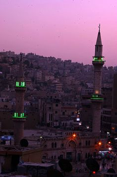 Husseini Mosque in Amman at dusk Amman, Mosque, Empire State Building, Dusk, Photography, Travel, Photograph, Viajes, Fotografie