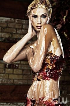"""""""Beverly Johnson"""" -- At the photo shoot, the women pose in foliage while being covered in maple syrup on America's Next Top Model on The CW. Pictured: Laura Cycle 18 Photo: Miguel Jacob/Pottle Productions Inc ©2012 Pottle Productions Inc. All Rights Reserved."""