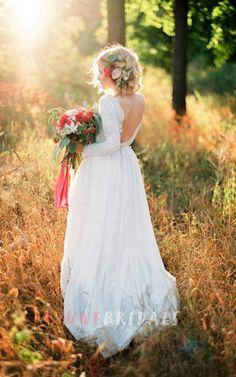 Romantic Chiffon Long A-Line Wedding Dress With Lace Bodice