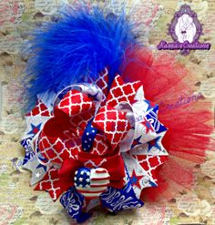 4th of July Bow #4thofjuly #handmade #bow #hairbow #patriotic #boutique #ottbow #bowtique #kassiascreations