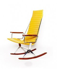Gerald McCabe for Brown Saltman Rocking Chair in Yellow