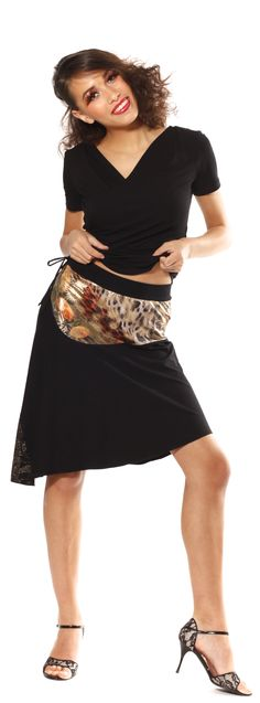 Your new favorite skirt. Unique asymmetrical Tango and Salsa skirt made from black Jersey with colorful accents. www.mavalou-shop.com