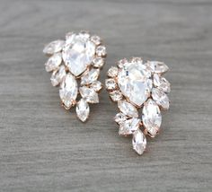 Rose Gold earrings Crystal earrings Bridal by CoutureBridalStudios