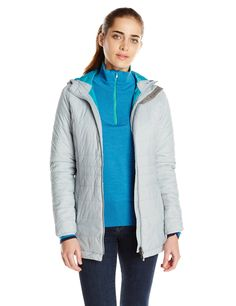 """White Sierra Women's Peak Parka, Medium, Quarry. Chin guard protects your face from wind and cold. Water resistant. Polyfill insulated - 120g. Zip secure front and chest pockets. Center back length: 30""""."""