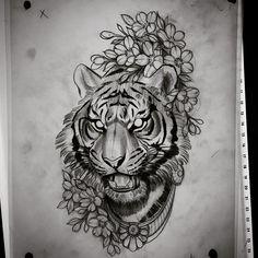 """https://www.instagram.com/opale_sasori/ @opale_sasori (this one is not mine) #illustration #neotraditionel #neotraditional #neo #traditionel #traditional #draw #drawing #tattoo #ink #tattooed #inked #sketch #sketches #flowers #animals #ink #tat #tats #neotrad #tattooartist #tattoos Dan Jones (@danjones_tattoo) sur Instagram : """"Back to work tomorrow #tiger #tigertattoo #neotrad #neotraditional #animaltattoo #tattoo"""""""
