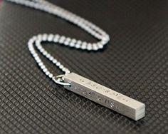 Mens Personalized Necklace Latitude Longitude Coordinates Unisex
