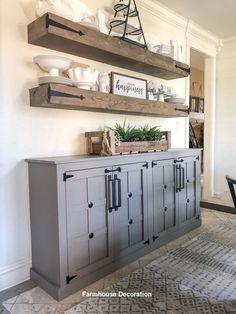 Are you looking for images for farmhouse living room? Check this out for perfect farmhouse living room images. This specific farmhouse living room ideas will look entirely fantastic. Farmhouse Cabinets, Farmhouse Remodel, Modern Farmhouse Kitchens, Farmhouse Homes, Modern Farmhouse Decor, Country Farmhouse, Farmhouse Design, Farmhouse Ideas, Farmhouse Shelving