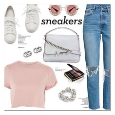 """""""So Fresh: White Sneakers"""" by christinacastro830 ❤ liked on Polyvore featuring Santoni, Topshop, Tod's, Gucci, Alexander Wang and whitesneakers"""