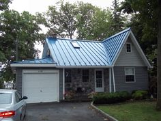 Best Blue Tin Metal Roof Pictured With Cedar Siding 400 x 300