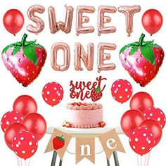 Sweet One Strawberry Birthday Decorations Strawberry One Banner Sweet One Cake Topper Balloons for One Berry Sweet Girl Birthday - Default