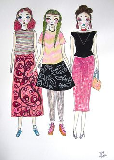 """doodoodloo: """" This is a custom artwork that I did as a set of three for some cool girls in Brisbane that own a very cute boutique called Verge Girl! Cute Boutiques, Pattern Art, Cool Girl, Art Pieces, Aurora Sleeping Beauty, Illustration Art, Textiles, Drawings, Creative"""