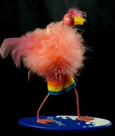 Surfin Pink Feathered FLAMINGO Surf Board Surfing Christmas Ornament Surfs Up
