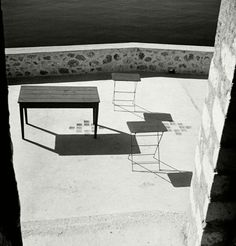 "Herbert List.   GREECE. Peloponnese. Bourtzi Island, off Nauplia. ""Terrace by the sea"".  Magnum Photos -"