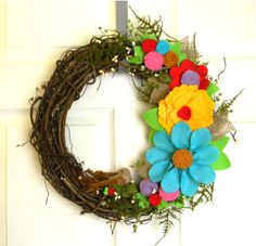 Spring Blooms and Burlap Bird: 14 inch Felt and Grapevine Wreath-Low Profile Design