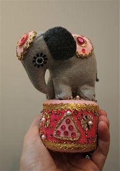 cute felt circus elephant pincushion