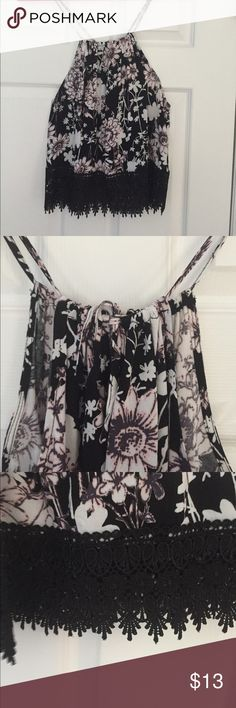 Floral top w/ lace bottom Pink, white and black. Strap length can be adjusted on back Tops Blouses