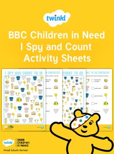Play the classic game of I Spy with a twist! Use these engaging, fundraising-themed activity sheets to consolidate counting and number skills. This is a great activity to use in your teaching during BBC Children in Need. After School Club, Sunday School, Teaching Math, Maths, Counting To 20, Children Activities, I Spy, Activity Sheets, Children In Need