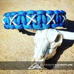 Sky Blue Paracord Bracelet with Gray X Thread, Hunting Fashion, Gifts for Ladies, Ladies Bracelet, EDC, EDC Bracelet, Wanderlust Accessories Ladies Bracelet, Edc Gear, Paracord Bracelets, Everyday Carry, Survival Gear, Gifts For Women, Hunting, Wanderlust, Sky