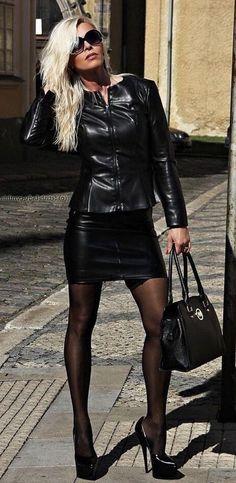Miscellaneous Leather Leather Mini-Skirts (Part Pantyhose Outfits, Black Pantyhose, Nylons, Black Leather Mini Skirt, Denim Mini, Sexy Outfits, Fashion Outfits, Fashion Moda, Womens Fashion