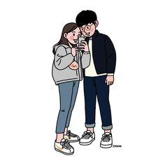 Line art people illustration Ideas Cute Couple Drawings, Anime Couples Drawings, Cute Couple Art, Cute Drawings, Cute Cartoon Wallpapers, Cute Wallpaper Backgrounds, Love Cartoon Couple, Cute Art Styles, Dibujos Cute