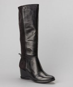 Take a look at this Black Leather Ilisa Wedge Boot by Calvin Klein on #zulily today!