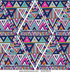 multicolor vector seamless pattern with triangles. Geometric doodle art print  in tribal style. Abstract ethnic vector background. Wallpaper, fabric, textile, wrapping paper. Hand drawn