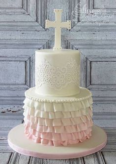 Beautiful Cake Pictures: Pretty Ruffles & Lace First Communion Cake - Baptism Cakes & Cupcakes, Themed Cakes - Beautiful Cake Pictures, Beautiful Cakes, Bautizo Cakes, First Holy Communion Cake, First Communion Dresses, Religious Cakes, Confirmation Cakes, Girl Cakes, Celebration Cakes