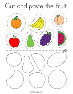 Cut and paste the fruit Coloring Page - Twisty Noodle Preschool Writing, Kindergarten Learning, Preschool Learning Activities, Preschool Printables, Kindergarten Worksheets, Preschool Body Theme, Kids Educational Crafts, Dementia Activities, Kids Worksheets