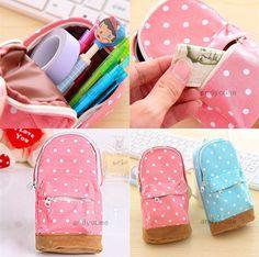 Fashion Cute Pink Canvas Pen Pencil Bag Case Stationery Students Mini School Bag