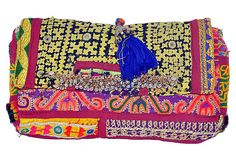 "Tassel Clutch WHITE MOHO Rajasthan, India 11""L x 6""w ($450.00)  $199.00 OneKingsLane.com"
