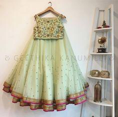 Pista Sequins Net Party Wear Crop Top Two Layer Lehenga Lengha Choli, Lehnga Dress, Lehenga Blouse, Indian Lehenga, Anarkali, Churidar, Patiala, Salwar Kameez, Silk Lehenga
