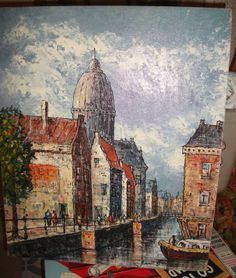 Medium size abstract European street scene. This will go in the master bedroom!