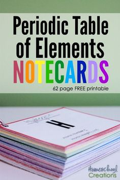 Learn the periodic table of elements with this 62 page printable. Lots of room to record information about each element - from http://HomeschoolCreations.net. #STEM
