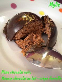 Dômes crêpe dentelle - Ingrédients (15 dômes): Coques: chocolat noir dessert, chocolat 86%. Intérieur: chocolat au lait fourré crêpe dentelle, crème fleurette(35% sans ajout), beurre.