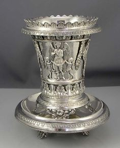 A three piece set comprising a pierced 5 tall vase on feet with matching marked hand hammered silver liner. The footed plate has a diameter of 5 and matching beaded and embossed decoration. Hammered Silver, 925 Silver, Sterling Silver, Silver Ring, Vintage Silver, Antique Silver, Bronze, Silver Work, Silver Prices