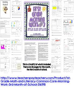 First Grade Common Core ELA and Math  Morning Work for the 3rd month of school http://www.teacherspayteachers.com/Product/1st-Grade-Math-and-Literacy-Common-Core-Morning-Work-3rd-Month-of-School-316198