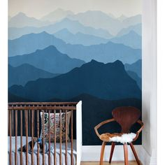 Mountain mural oversized wall art peel & stick wallpaper printed onto adhesive backed fabric that can be removed, repositioned and reused over and over again. Mountain Mural Wallpaper, Mountain Mural Wall Art, Fabric Wallpaper, Peel and Stick Wallpaper Wall Art Wallpaper, Mural Wall Art, Wallpaper Panels, Wallpaper Samples, Fabric Wallpaper, Wall Decal, Nursery Murals, Mountain Mural, Blue Mountain