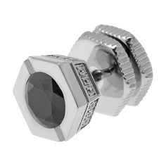Stainless Steel Cubic Zirconia Single-Stud Earring