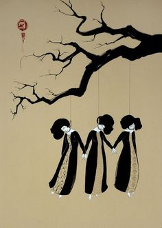 Hayv Kahraman (Iraqi) - Three Women Hanging Drawings - CoSA | Contemporary Sacred Art