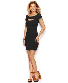 GUESS Short-Sleeve Cutout Body-Con Dress - Dresses - Women - Macy's - $22