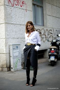 over the knee boots with wrap skirt and white shirt