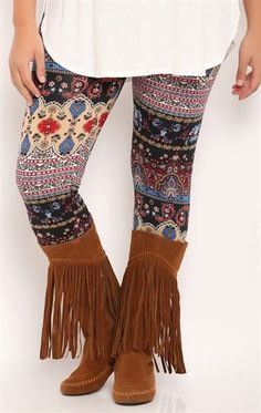 Deb Shops plus multi paisley legging
